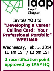 WEBINAR: Developing a Career Calling Card: Your Professional Portfolio – February 5, 2014